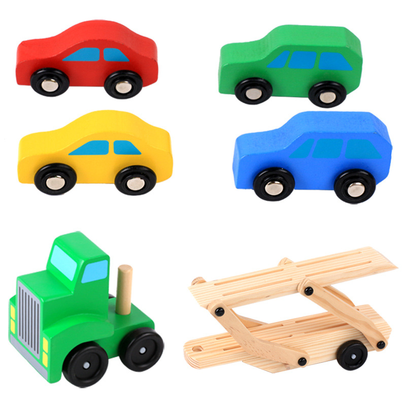 Wooden Toys Car Set For Kids Carrier Truck Transporter Car