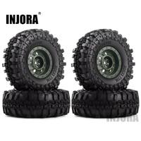 "INJORA Rubber 1.9"" Wheel Tires&Plastic 1.9inch Wheel Rims 4Pcs/Set for 1/10 RC Crawler Axial SCX10 90046 Tamiya CC01 D90 D110 3"