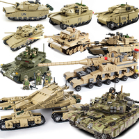 Upgraded legoing Tank German Ww2 Tiger M1A2 Sets Military Model Building Kits Blocks Army World War Kids Toys Technic
