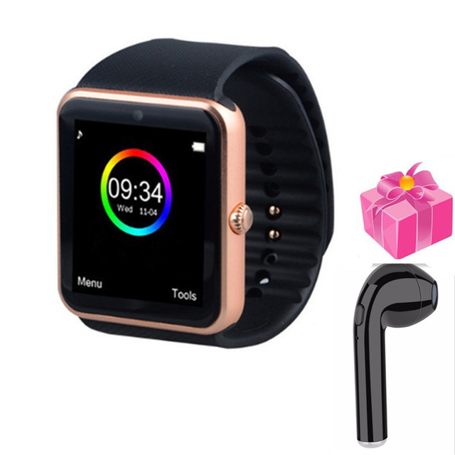 Android smartwatch GT08 sleep monitoring video camera anti lost PK DM09 GT88 health wristwatch men ladies+free headset