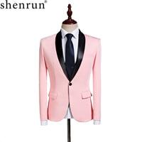 Shenrun Men Casual Blazer Shawl Lapel Jacket Pink Tuxedo Slim Fit Suits Jackets Party Prom Stage Singer Wedding Groom Blazers