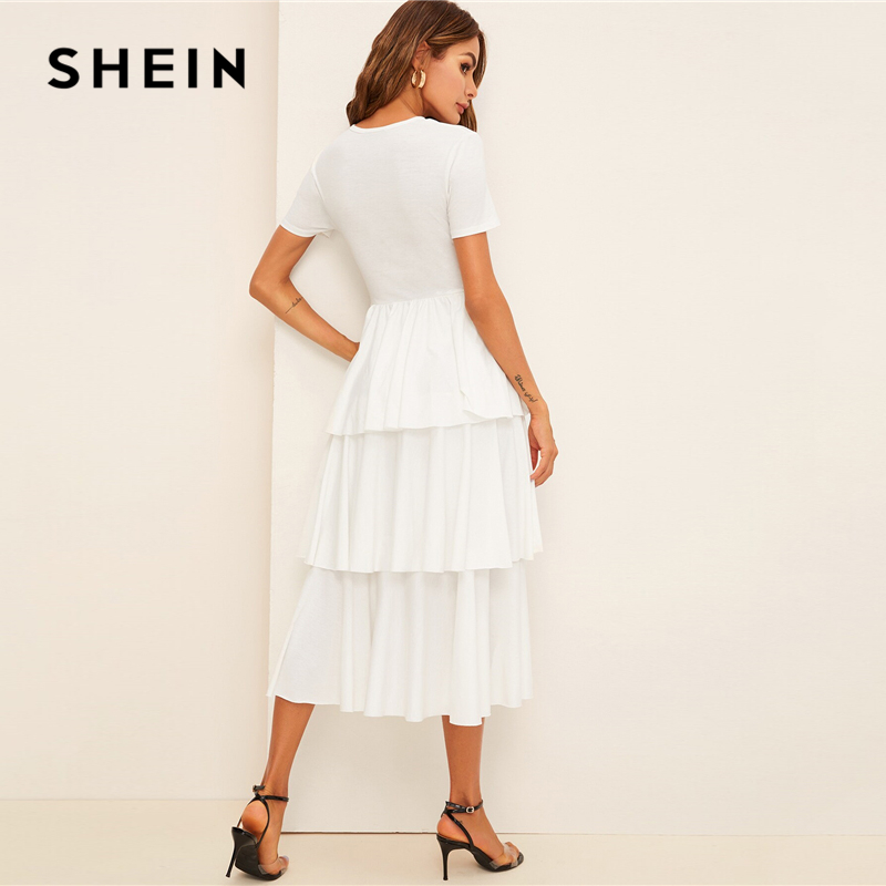 SHEIN Elegant Contrast Tie Waist Layered Ruffle High Waist Long Dress Women Summer Solid Office Lady A Line Party Dresses