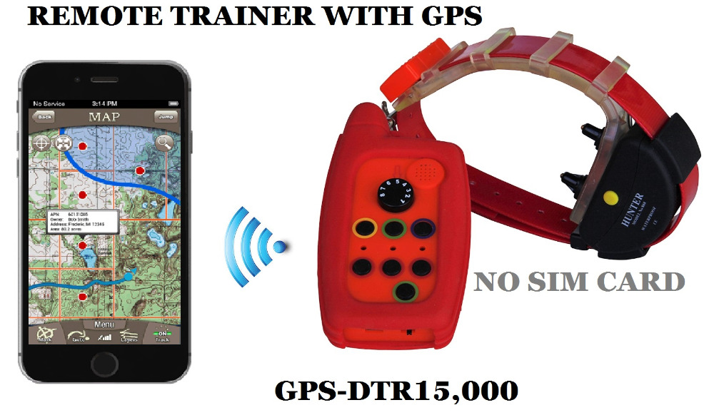 Collier de dressage étanche pour chien avec plage de suivi GPS 15 kmavec antenne intégrée