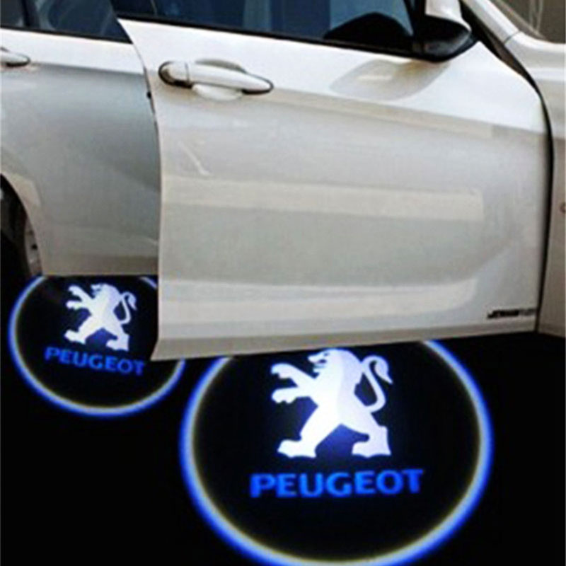 Car Door Light for Peugeot LOGO projection automobiles External for 308SW/308CC/308/408/508/3008/RCZ welcome Door Light Hot LED hot sale 2pcs hot sale car led moving door scuff fit for peugeot301 2008 307 308 408 508 4008 front door white blue red high qu
