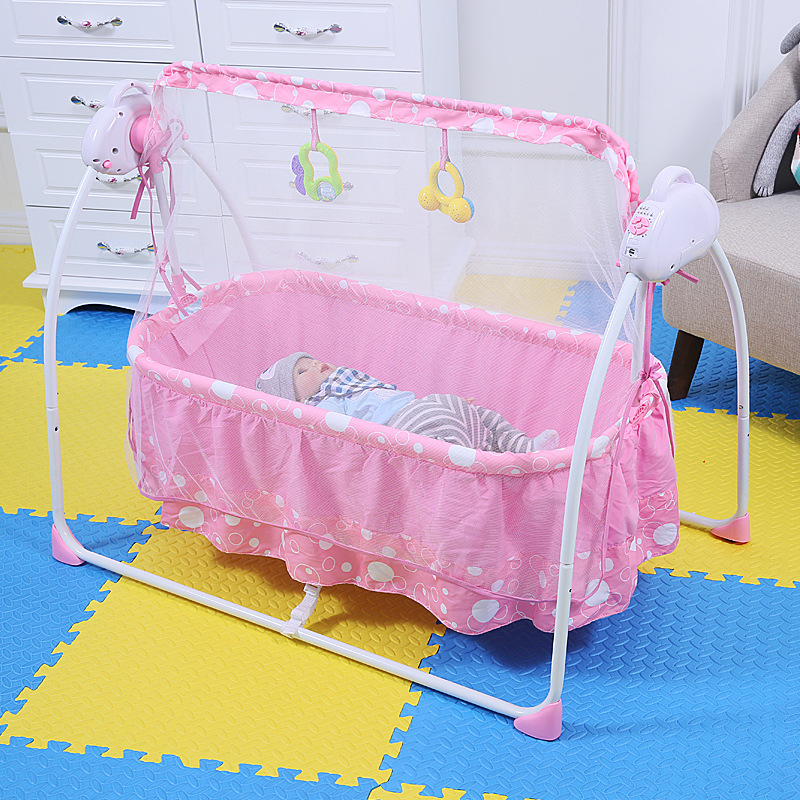 Electric Baby Crib Baby Cradle With Mosquito Nets Multifunctional Music Baby Cradle Bed luxury portable cradle newborn baby cradle multifunctional baby bed play bed with music toy can folding 2in1 crib cotton cot