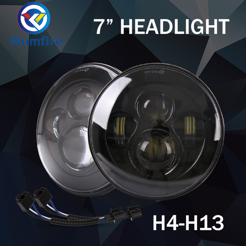 Headlight 7 Inch 40W 1 Pair H4 High Low Beam 9-32V Angel Eyes with DOT Emark for Lada Niva Headlights 4x4 Jeep Wrangler co light 1 pair led headlight 4x6 45w high low fog lamp for kenworth gmc chevrolet ford jeep lada niva 4x4 offroad 9 32v 3000k