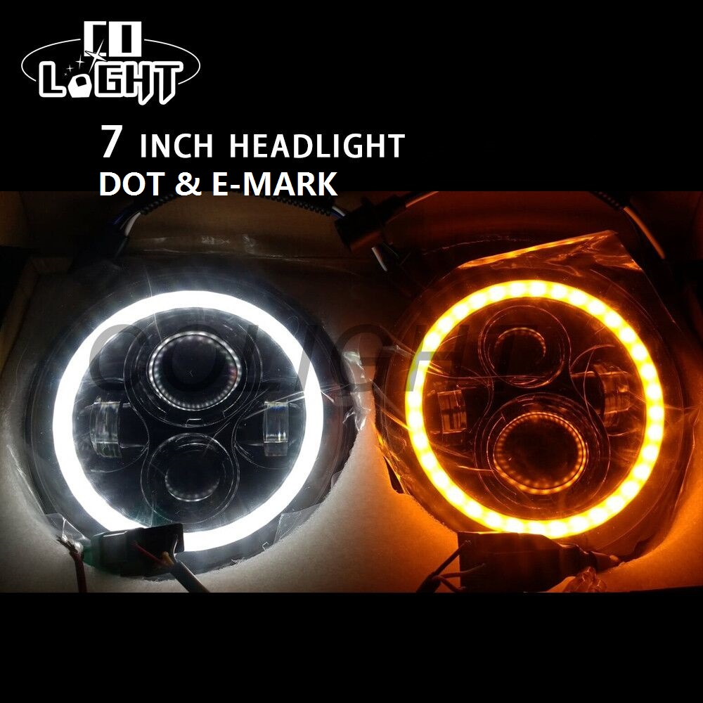 CO LIGHT Drl Round Headlight with Yellow Angel Eyes Hi Lo 7 Angelic Eye 50W 30W