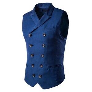 Image 3 - ขายร้อน Mens เสื้อและเสื้อกั๊ก Slim Masculino ฝ้ายคู่เสื้อแขนกุด Waistcoat ชุดสูทเสื้อสูทชายเสื้อกั๊ก