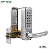 Mejor RAYKUBE impermeable contraseña cerraduras de puerta teclado Digital mecánico contraseña cerradura de puerta sin llave aleación