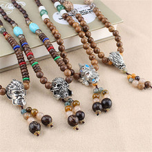 все цены на 2019 New Fashion Necklace Retro Ethnic Wood Buddha Statue Pendant for Women Nepalese Mantra Wooden Beads Sweater Chain Gifts онлайн
