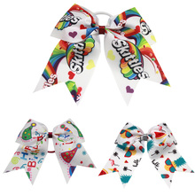 7 Inch 2019 new Skittles Candy Rainbow Print Hair Bows Girls Party Accessories Rubber band Handmade Ribbon DIY Bands