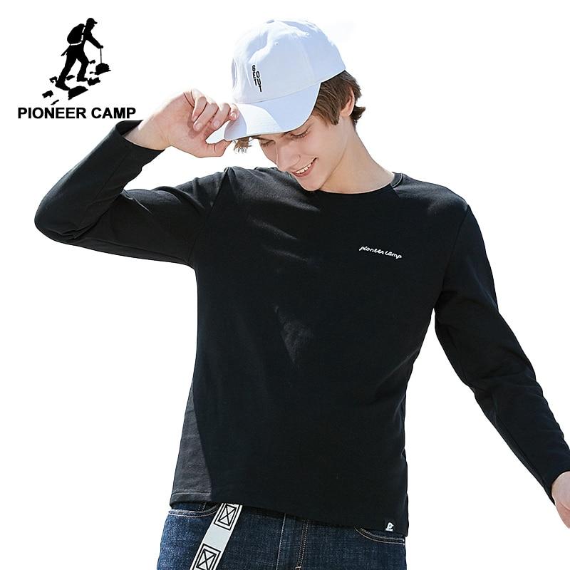 Pioneer Camp manches longues hommes T shirt marque vêtements simple automne printemps T shirt mâle top qualité T shirt extensible ACT801350-in T-shirts from Vêtements homme on AliExpress - 11.11_Double 11_Singles' Day 1
