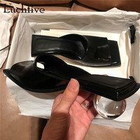 Summer black genuine leather sandals women Slippers clear crystal round ball med heels mules runway style beach shoes ladies