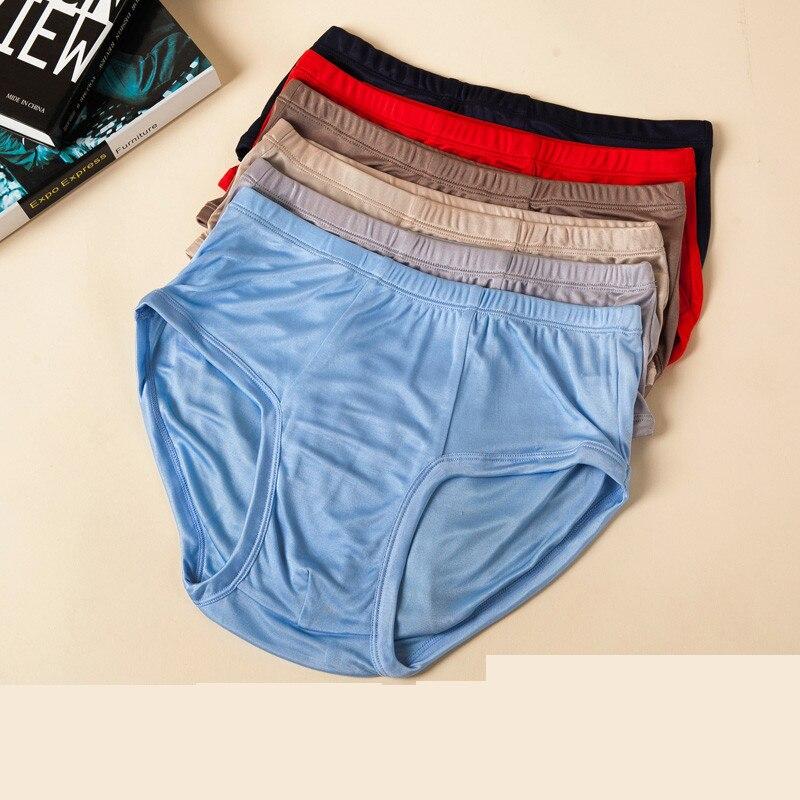 6 Colors Natural Silk Mens Briefs Healthy Solid Panties Soft Lingerie Calcinha Briefs Underwear Calzoncillos