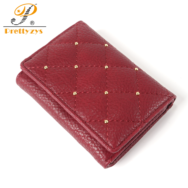 Prettyzys New Ladies Wallet Female Women Short Purse Leather Coin Card Holder Perse Slim Woman Carteira Red Rivert Plaid simline fashion genuine leather real cowhide women lady short slim wallet wallets purse card holder zipper coin pocket ladies