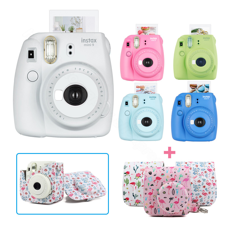 New 5 Colors Fujifilm Instax Mini 9 Instant Photo Film Camera Kit Set with PU Carrying Case Shoulder Strap, Use Instax Mini Film new 5 colors fujifilm instax mini 9 instant camera 100 photos fuji instant mini 8 film