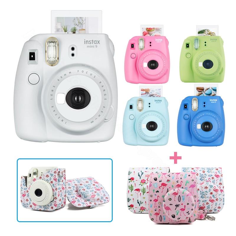 Nouveau 5 Couleurs Fujifilm Instax Mini 9 Instant Photo Film Caméra Kit Set avec PU Étui de Transport Bandoulière, utiliser Instax Mini Film