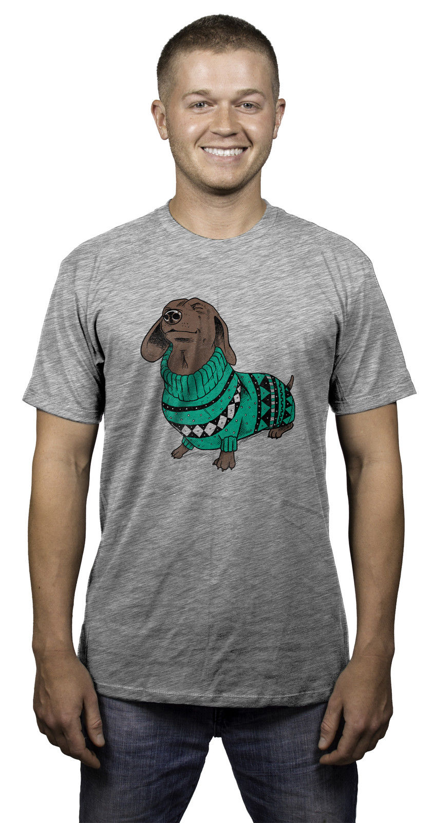 Mens Wiener Dog In Christmas Sweater Dachshund T Shirt 100% Cotton T-Shirts Brand Clothing Tops Tees Hot Selling 100 % Cotton