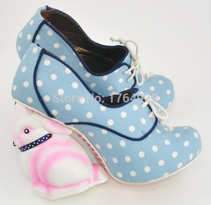 Young ladies cute irregular rabbit heel shoes lace up polka dot decorated sweet dress shoes