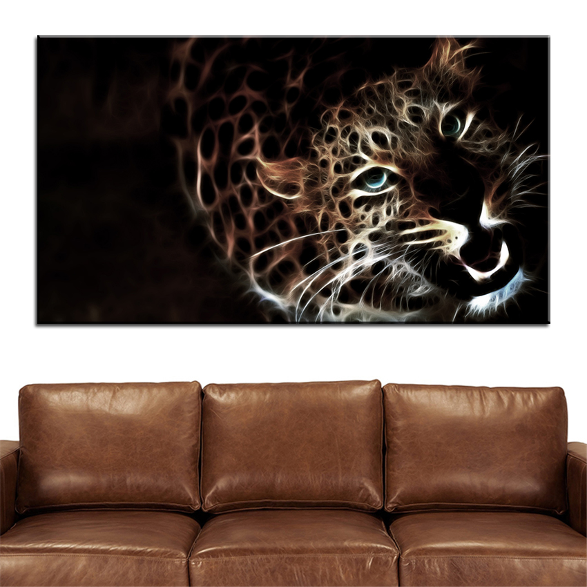 Leopard Bedroom Ideas For Painting: Large Size Printing Oil Painting Glowing Leopard Wall