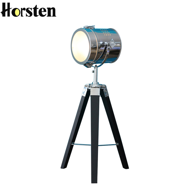 Horsten European Vintage Retro Wood Tripod Table Lamp Spotlight