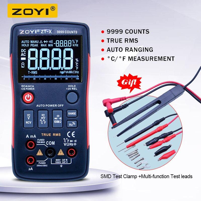 ZT-X vraie gamme automatique de multimètre numérique RMS ampèremètre AC/DC Diode de capacité de résistance de voltmètre NCV avec un triple affichage