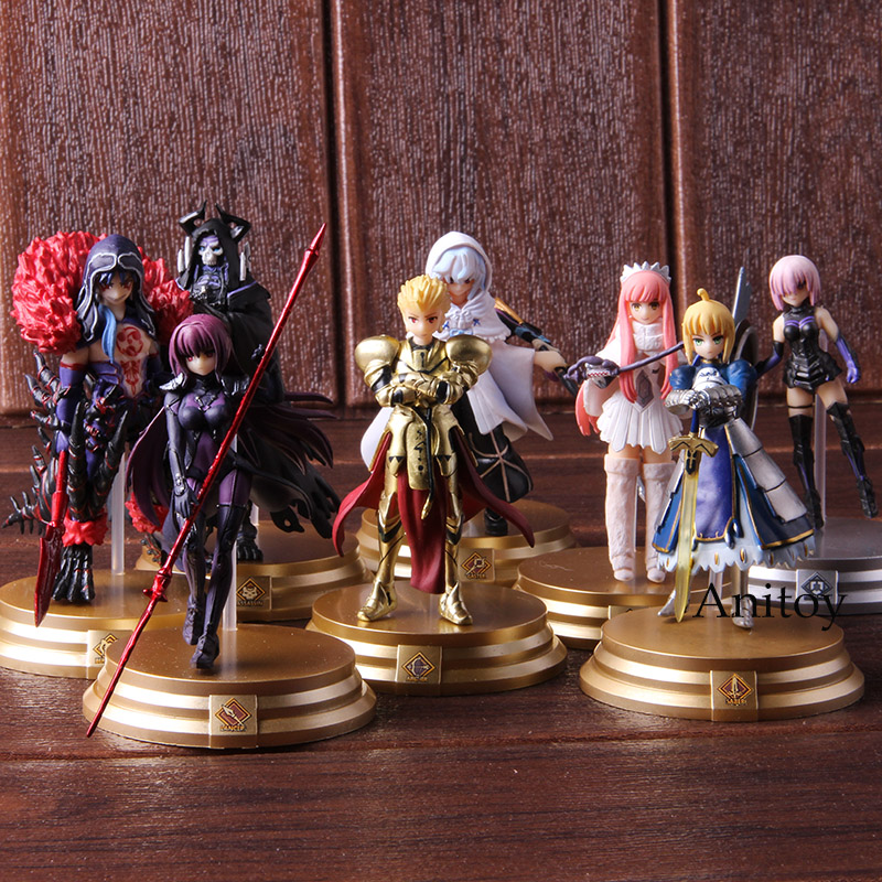 Fate Grand Order FGO Saber Scathach Mash Kyrielight Medb Merlin Gilgamesh Figure Action PVC Collectible Model Toy 8pcs/set