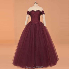 Burgundy Vintage promenade clothes off the shoulder promenade gown ball robe quinceanera gown commencement clothes