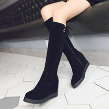 Women's Flock Knee High Boots Wedges High Heels Platform Zipper Round Toe Winter Fashion Ladies Shoes Brown Black Drop Shipping