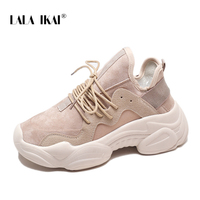 LALA IKAI Woman Sneakers Spring Breathable Sewing Platform Sneakers Lace Up Vulcanize Shoes Ladies Sneakers 014A3334 45