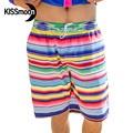 KISSmoon быстросохнущая Красочный блеск полосы радуга Оранжевый синий Пару одежду Мужчина пляжные шорты Пару Мужчин бордшорты KBS1117
