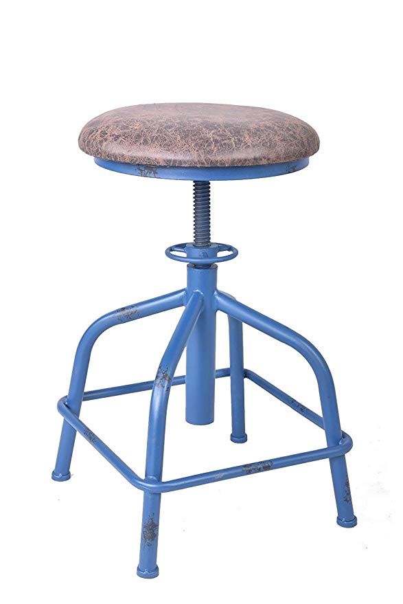 Bar Chairs Antique Industrial Design PU Leather Bar Stool Round Seat Adjustable Swivel Bar Stools In Exterior House Design