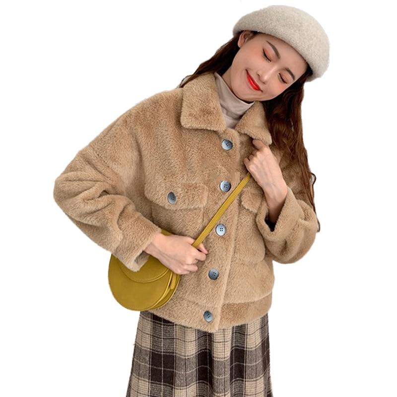 Chaud Lâche Décontracté V899 Automne Femmes Peluche Vison Cachemire Printemps Épais Nouveau Manteaux Survêtement Femelle Dames 2019 En Faux Court fv7gYb6y