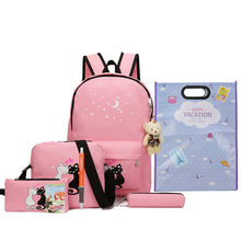 8Pcs Cute Animal Star Printing Backpack Women Bookbags For Teenagers Girls School Backpack Set Women Canvas Backpack School Bags цены