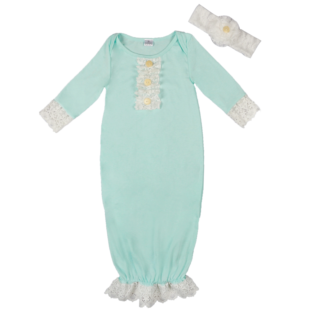 Baby Sleepwear Ruffles Cotton Newborn Infant Robes 2018 Pink Green ...