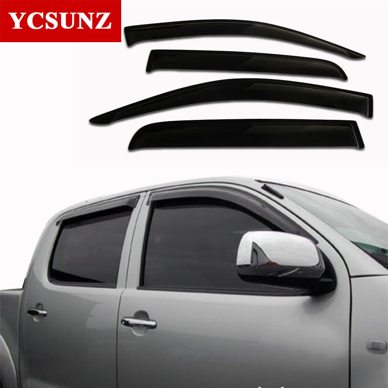 2005-2014 For Toyota Hilux Car Wind Deflector Black Car Window Deflector Visor Vent Rain Guard For Toyota Hilux Vigo Ycsunz 2 pc hilux hilux chequered racing side stripe graphic vinyl sticker for toyota hilux decals