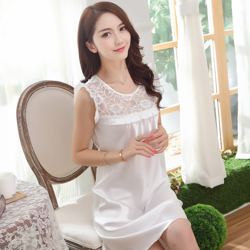 Women Summer Cute Faux Silk Satin Nightgown Sleeveless Sleeping Dress O-neck Sleep Wear  ...