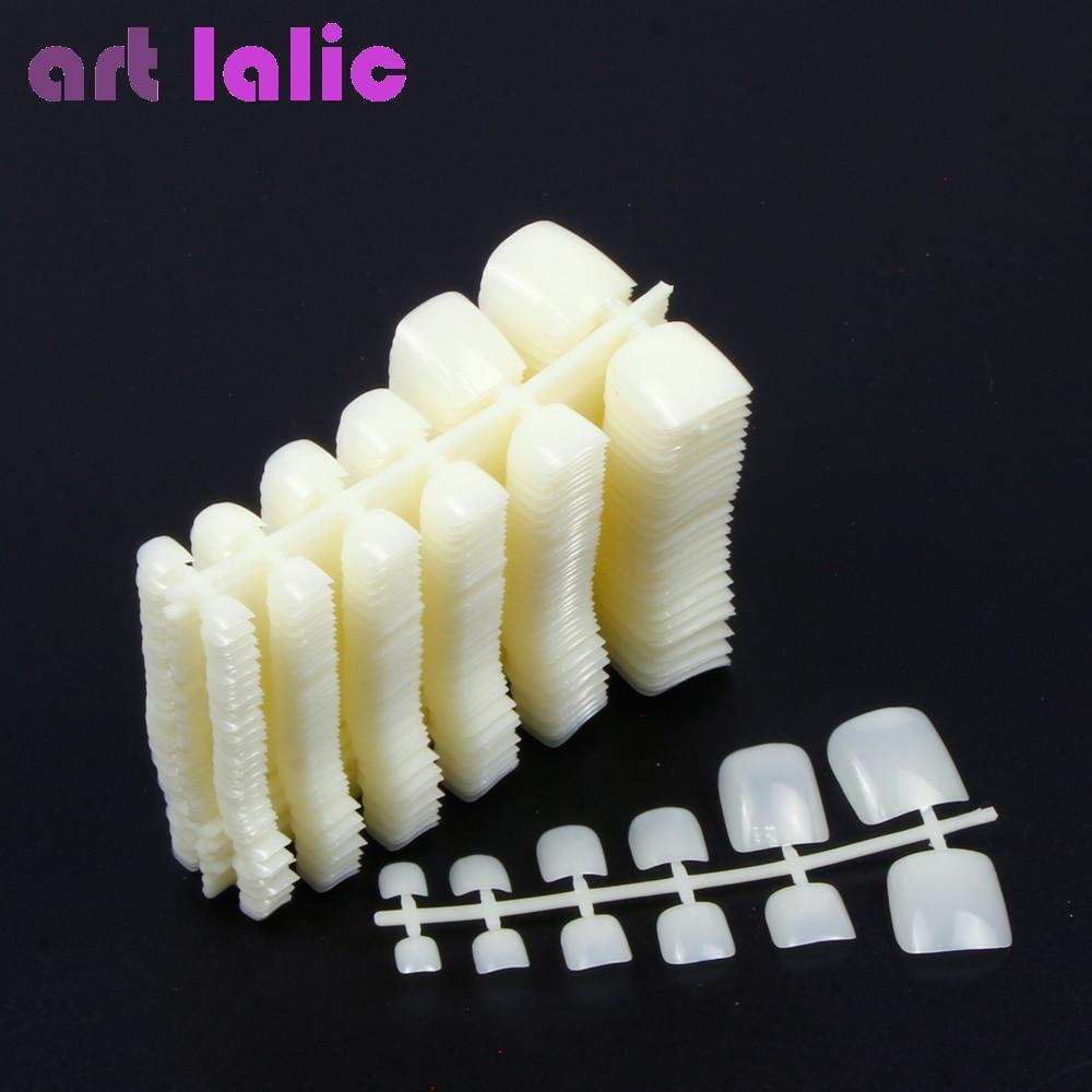 600Pcs Nail Tips Natural Acrylic False Fake Artificial Toe Nails Tip For Nail Art Decor DIY Salon Tools