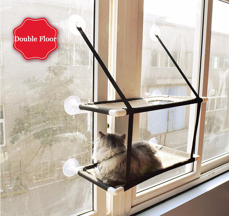 Cat Lounger Cat Hammock Bed Mount Window Cat Lounger Suction Cups Warm Bed For Pet Cat Rest House Soft Comfortable Bed #2