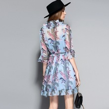 Blue Print Dress New Fashion Summer 2017 Ladies Ruffled Collar Tropical Tree Print Flare Sleeve Casual Chiffon Dress Mini Club