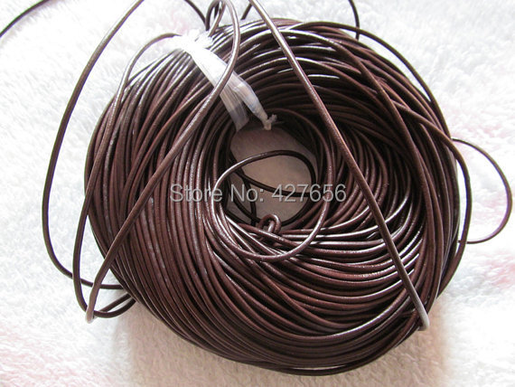 100Yds 3mm Black Brown Genuine Leather Cords String Rope Jewelry Beading String For Bracelet Necklace DIY