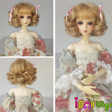 High Quality Doll Wig Hair Short Curly Wigs for 1/3 1/4 BJD Dolls Tan Color Wigs with Bang все цены