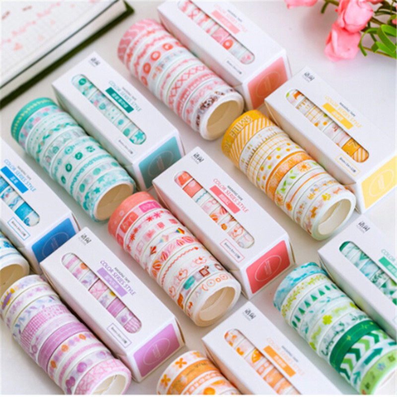 10pcs/lot  Leaves Foil Grid Floral Cute Paper Masking Washi Tape Set Japanese Stationery Scrapbooking Supplies