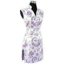 Акция, фиолетовое традиционное китайское женское шелковое платье Cheongsam Qipao, платье для выпускного вечера, Клубное платье с тотемом и цветами, Размеры S M L XL XXL XXXL WC173