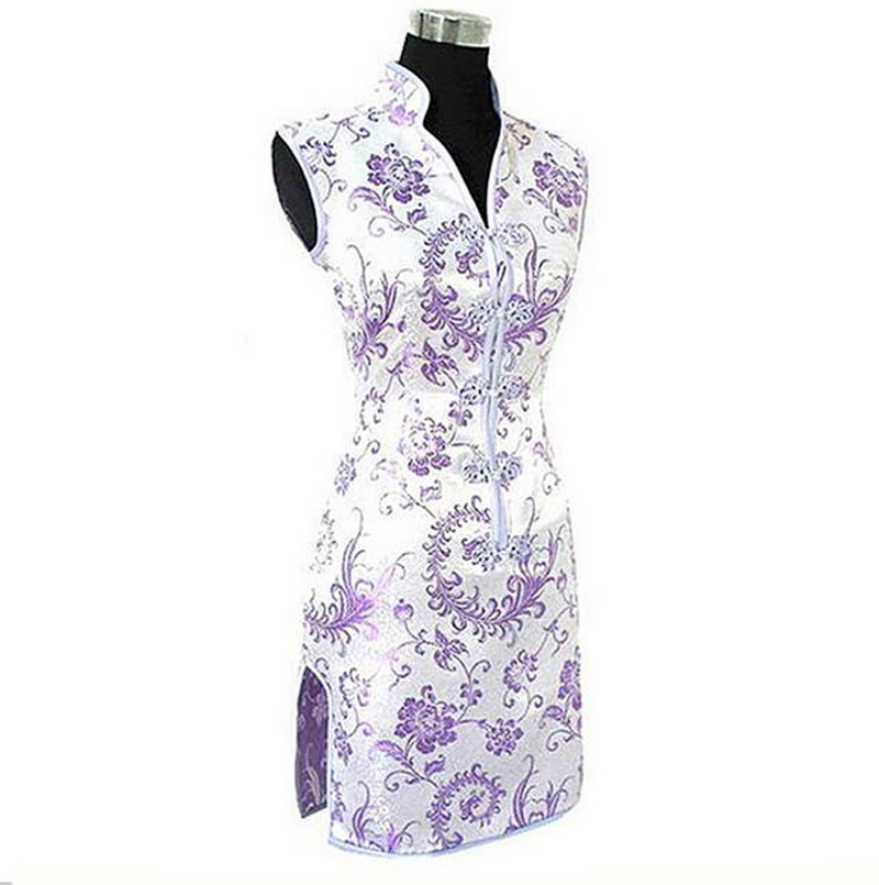 Promotion Purple Traditional Chinese Lady Silk Cheongsam Qipao Prom Club Dress Totem&Flower Size S M L XL XXL XXXL WC173