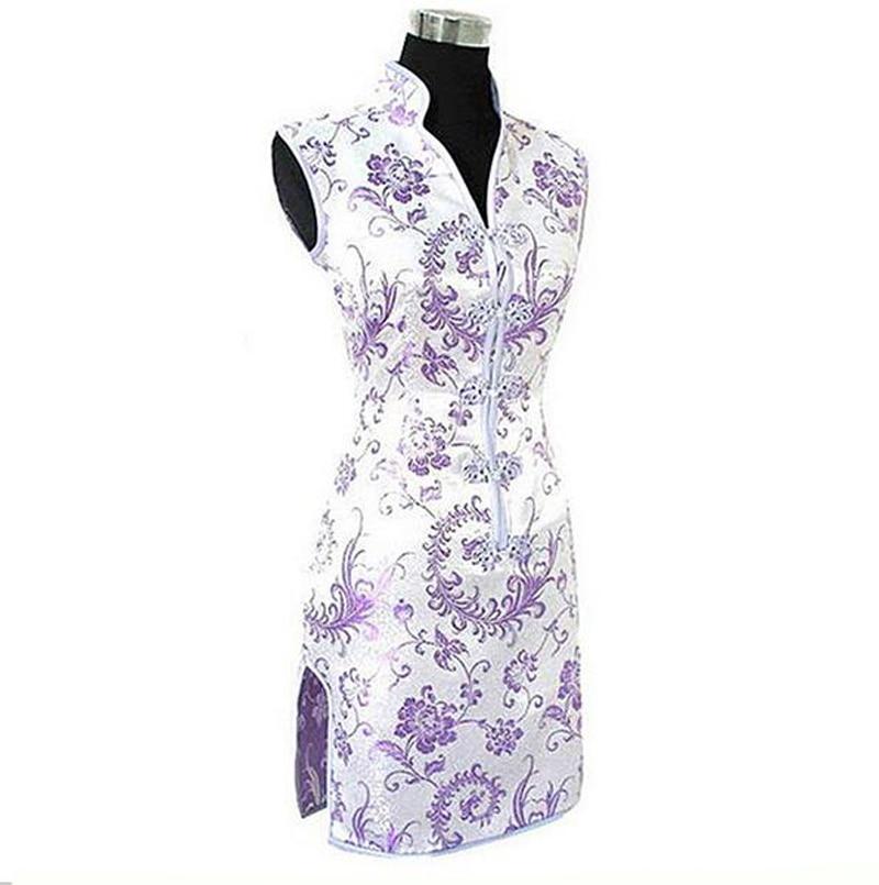 Promotion Purple Traditional Chinese Lady Silk Cheongsam Qipao Prom Club Dress Totem&Flower Size S M L XL XXL XXXL WC173