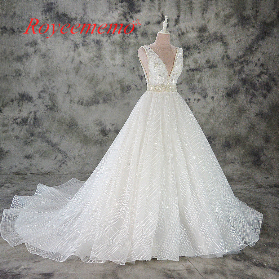 Vestido de Noiva A line lace wedding dress sexy deep v neck lace wedding gown custom made factory wholesale price bridal dress