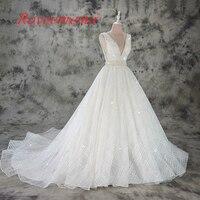Vestido de Noiva Een lijn kant trouwjurk sexy diepe v hals kant bruidsjurk custom made factory groothandelsprijs bridal jurk
