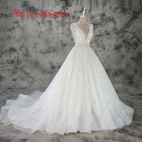 Vestido De Noiva A Line Lace Wedding Dress Sexy Deep V Neck Lace Wedding Gown Custom