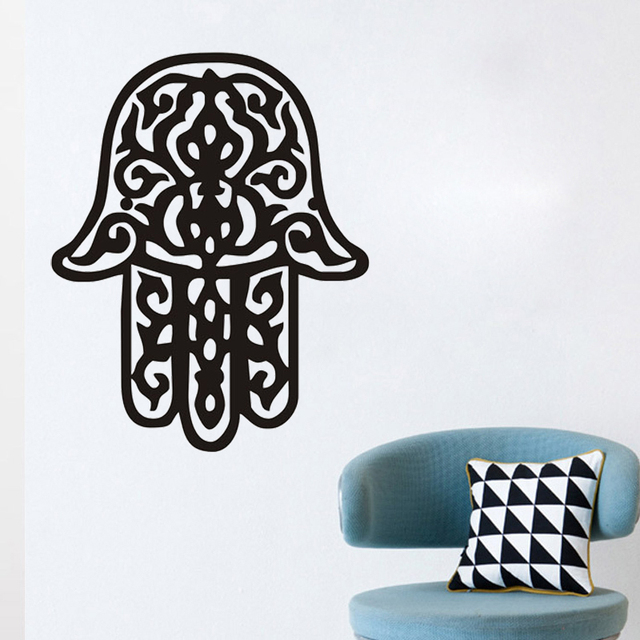 Zooyoo Hand Of Fatima Wall Stickers Living Room Art Vinyl Hollow Out Home Decor Arabic Religious